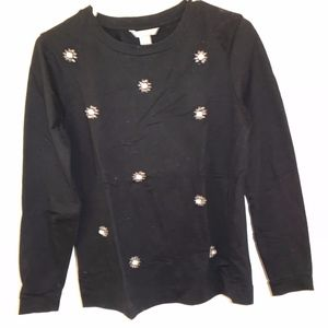 J. Crew Black Sweater with White Bead Detail